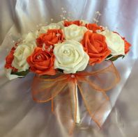 ARTIFICIAL FLOWERS IVORY/ORANGE FOAM ROSE BRIDE CRYSTAL WEDDING BOUQUET POSIE
